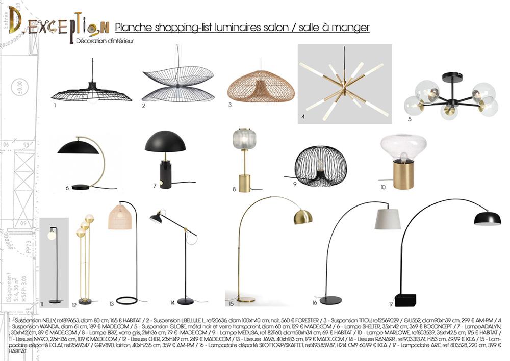 planche-shopping-list-luminaires-salon-salle-amanger-appartement-lyon-3